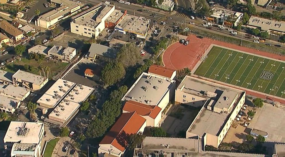 PHOTO: Two teenagers were shot and injured at Sal Castro Middle School in Los Angeles, Calif., Feb. 1, 2018.