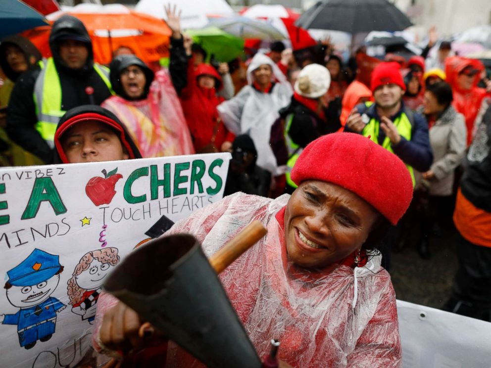 PHOTO: Teacher Nkechi Apakama along with Los Angeles Unified School District teachers and supporters gather at Los Angeles Unified School District headquarters on Jan. 14, 2019.
