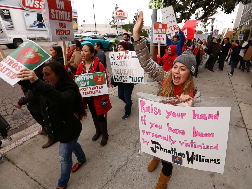 PHOTO: A kindergarten teacher at The Accelerated Schools, a community of public charter schools in South Los Angeles joins fellow teachers as they picket outside the school on second day of the Los Angeles school teachers strike, Jan. 15, 2019.