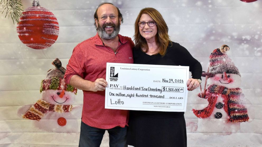 Harold and Tina Ehrenberg claimed $1.8 million jackpot-winning ticket on Nov. 19, 2018 after they found the ticket for the June 6 Louisiana Lottery Lotto drawing while they were cleaning their home to welcome family for thanksgiving.