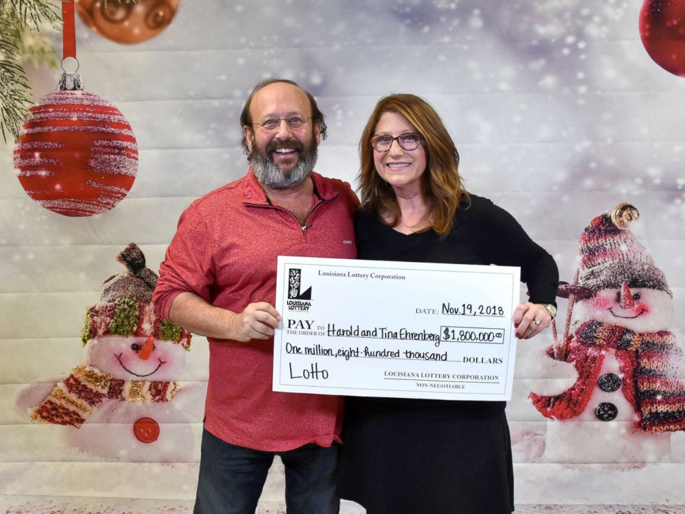 PHOTO: Harold and Tina Ehrenberg claimed $1.8 million jackpot-winning ticket on Nov. 19, 2018 after they found the ticket for the June 6 Louisiana Lottery Lotto drawing while they were cleaning their home to welcome family for thanksgiving.