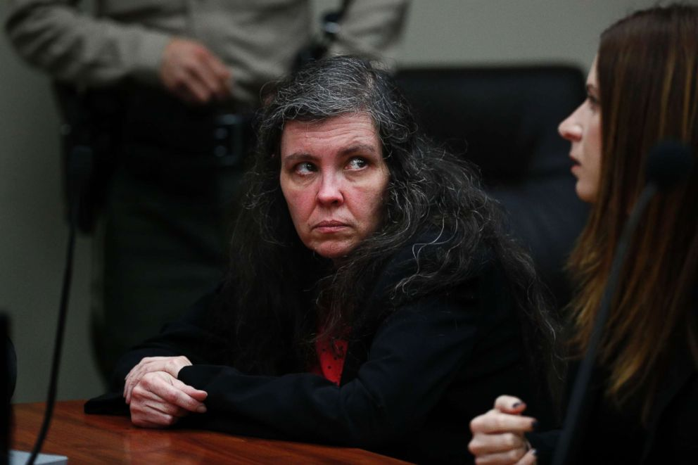 Louise Turpin sits in a courtroom Friday, Feb. 22, 2019, in Riverside, Calif.