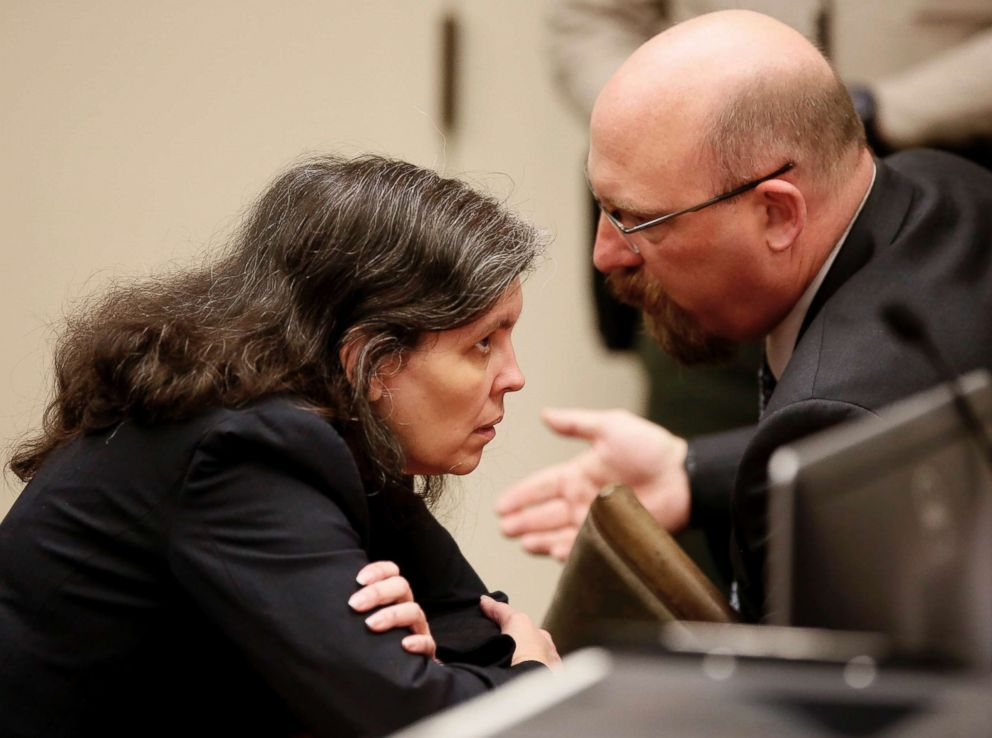 PHOTO: Attorney Jeff Moore speaks with Louise Turpin as she and David Turpin appear in court in Riverside, Calif., on Feb. 23, 2018.