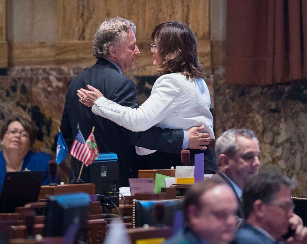 PHOTO: Sen. John Milkovich, left, and Rep. Valarie Hodges embrace in the House Chamber at the State Capitol, after the House passed Milkovichs fetal heartbeat bill on Wednesday, May 29, 2019, in Baton Rouge, La.