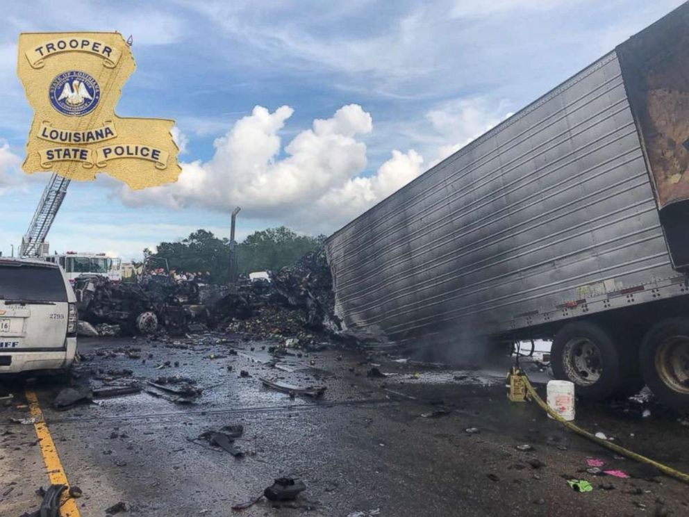 Four people were killed and 13 injured in a fiery crash near Covington, Louisiana, on Saturday, May 26, 2018.