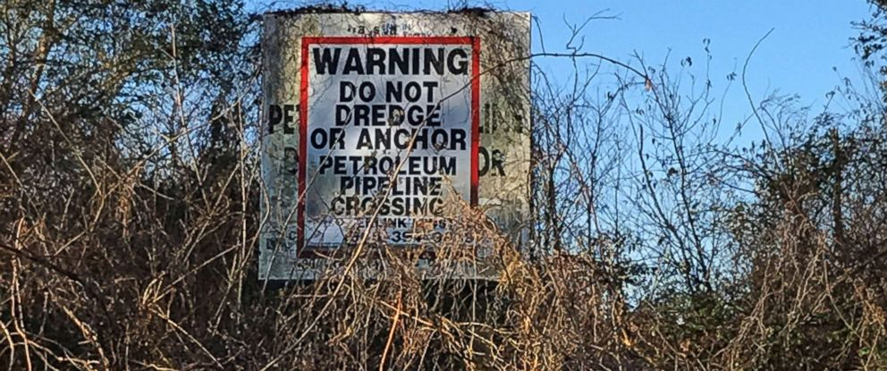 PHOTO: A sign is seen at Atchafalaya Basin, home to many pipelines, in the western part of the of southern Louisiana, Jan. 31, 2017.