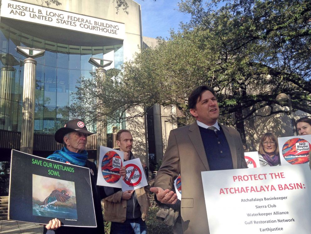 PHOTO: Scott Eustis, a community science director for the Gulf Restoration Network, speaks before a hearing in federal court in New Orleans, LA., Feb. 8, 2018.