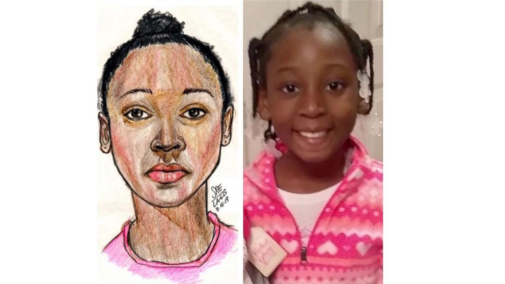 A police sketch and then photo of Trinity Love Jones.