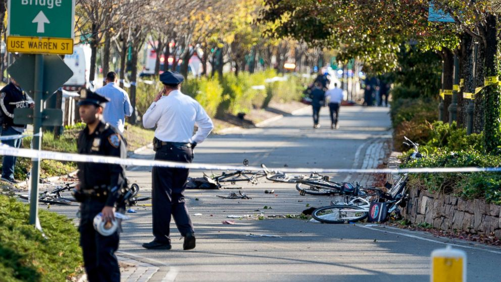 Bicycles and debris lay on a bike path after a motorist drove onto the path near the World Trade Center memorial, striking and killing several people, Oct. 31, 2017.