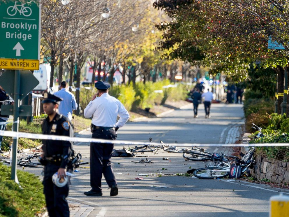 PHOTO: Bicycles and debris lay on a bike path after a motorist drove onto the path near the World Trade Center memorial, striking and killing several people, Oct. 31, 2017.