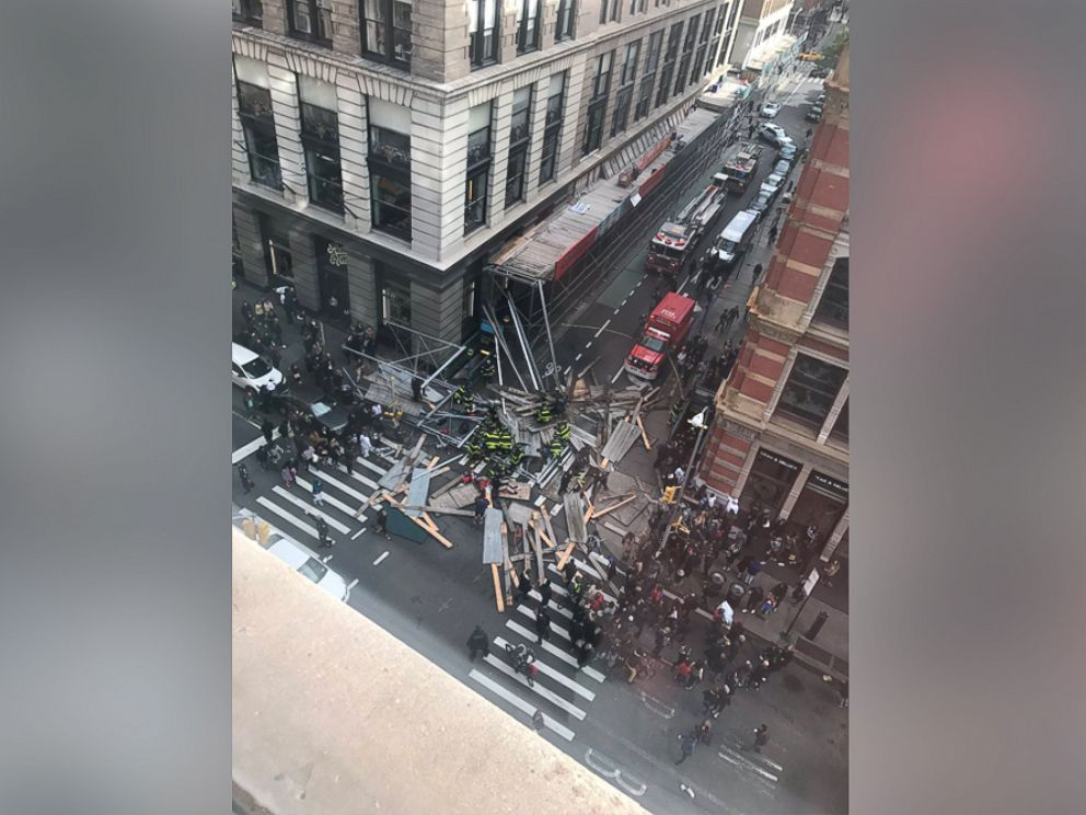 PHOTO: Courtney Davis tweeted this image of huge scaffolding that fell below her apartment on Prince and Broadway in the Soho neighborhood, Nov. 19, 2017 in New York.