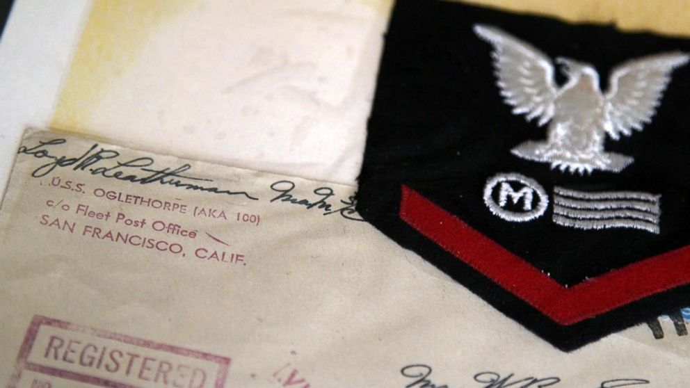 PHOTO: Loyd Leatherman, 90, served as a mailman aboard the U.S.S. Oglethorpe during Word War II. He kept his uniform patch and many of the letters he had sent home while deployed.