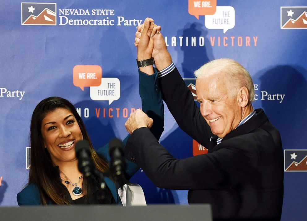 PHOTO: Democratic candidate for lieutenant governor and current Nevada Assemblywoman Lucy Flores introduces U.S. Vice President Joe Biden at a get-out-the-vote rally in Las Vegas, Nov. 1, 2014 .