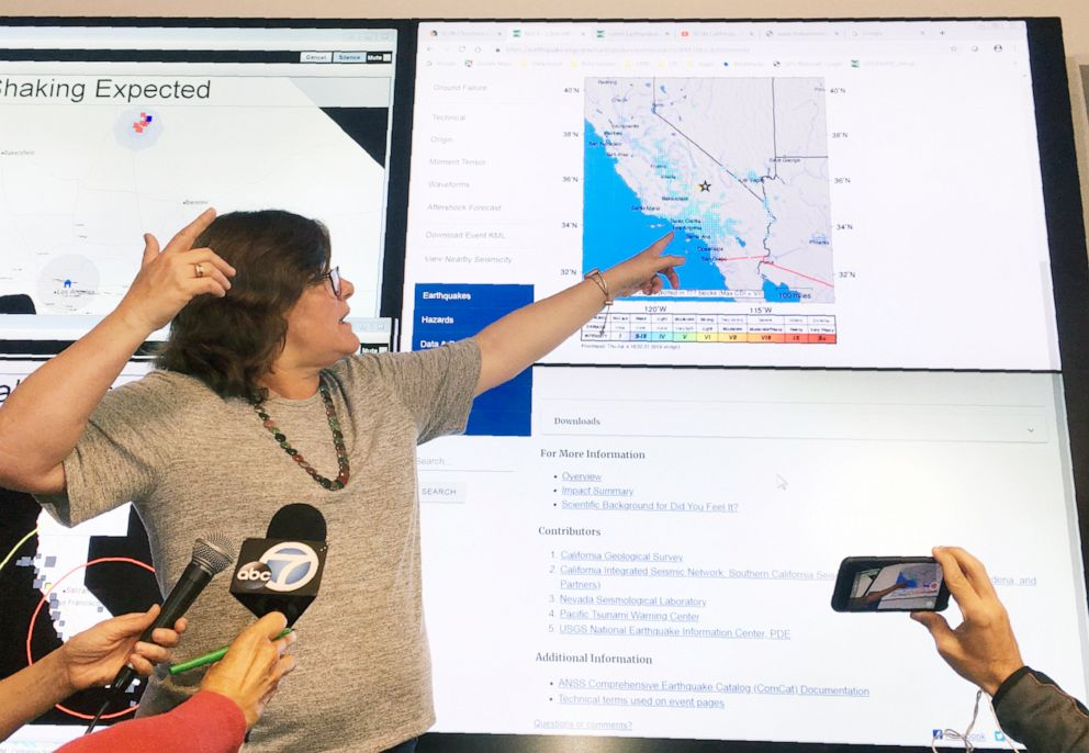 PHOTO: Seismologist Lucy Jones talks during a news conference at the Caltech Seismological Laboratory in Pasadena, Calif., Thursday, July 4, 2019.