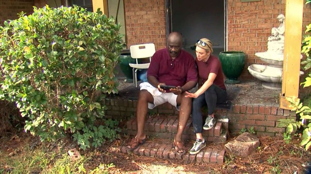 PHOTO: Jerry Pone, Sr. speaks with ABC News Amy Robach on the steps of his home in Lumberton, N.C., Sept. 12, 2018.