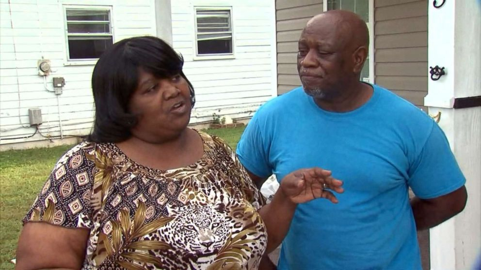 PHOTO: Linda and Maceo Bostic speak to ABC News outside their home in Lumberton, N.C., Sept. 12, 2018.