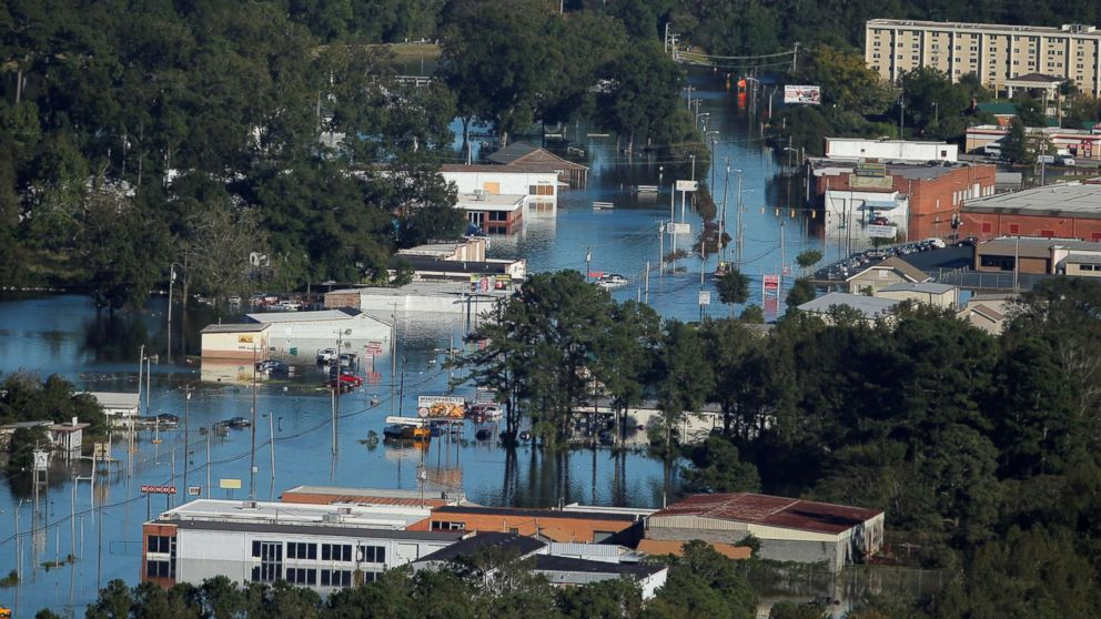 An aerial view shows flood waters after Hurricane Matthew in Lumberton, N.C., Oct. 10, 2016.