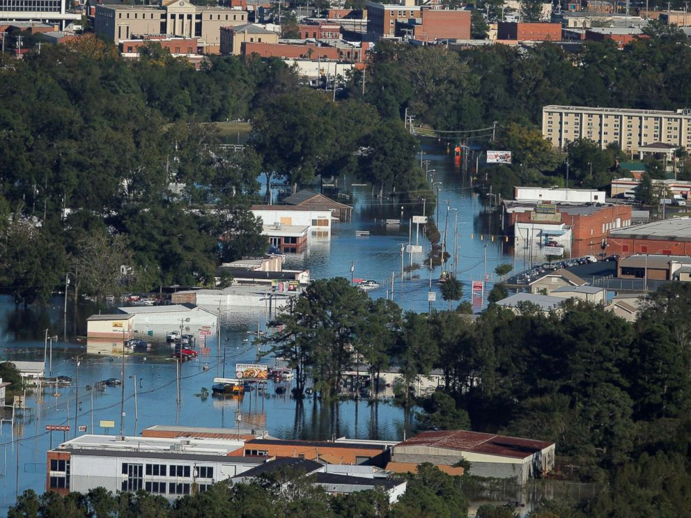 PHOTO: An aerial view shows flood waters after Hurricane Matthew in Lumberton, N.C., Oct. 10, 2016.