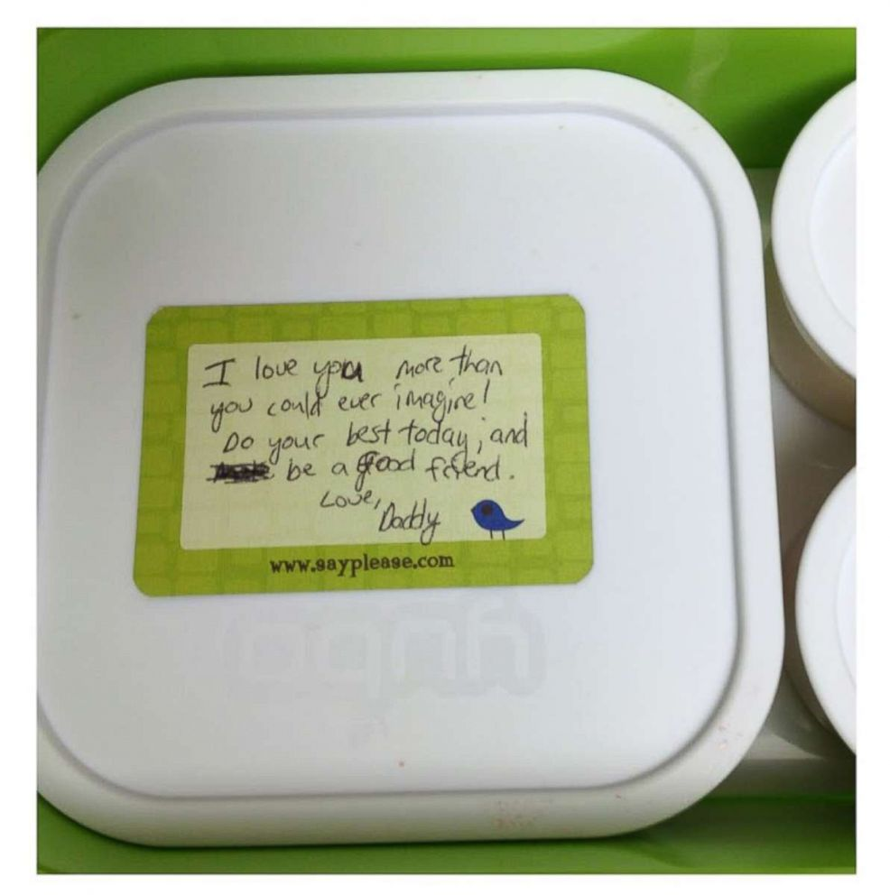 PHOTO: Beau Coffron writes notes for his kids lunchboxes to add a personal touch.