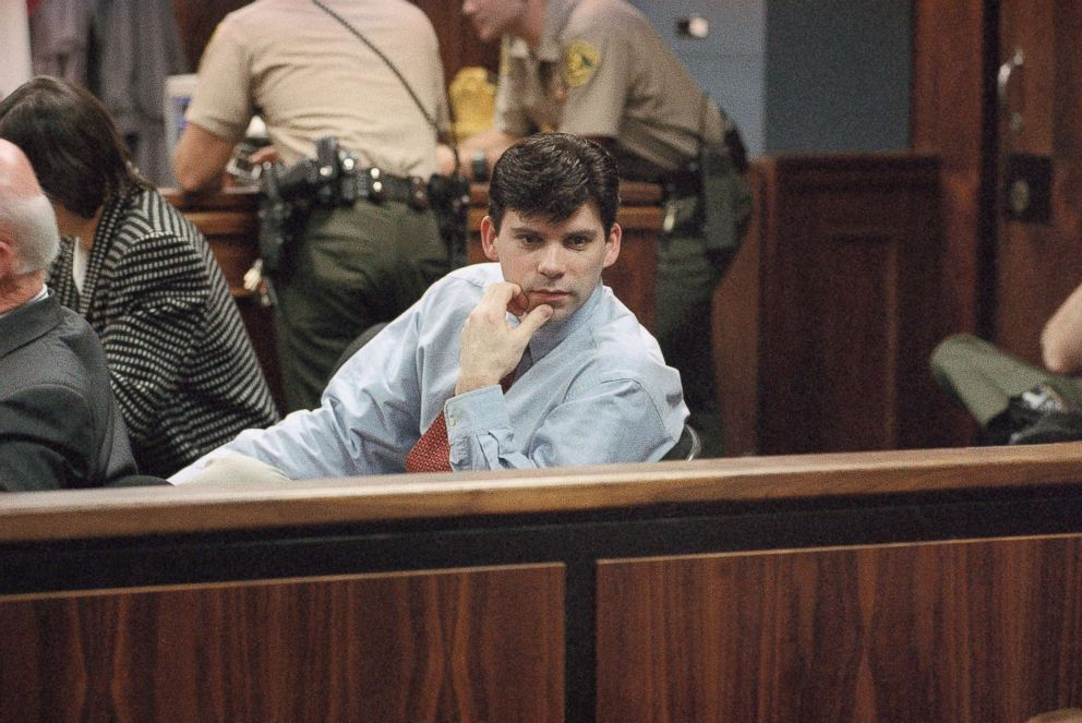 PHOTO: In this file photo, Lyle Menendez looks back at the spectators in the courtroom during final arguments in the second murder trial of Lyle and his brother Erik in the Van Nuys section of Los Angeles, Feb. 22, 1996.