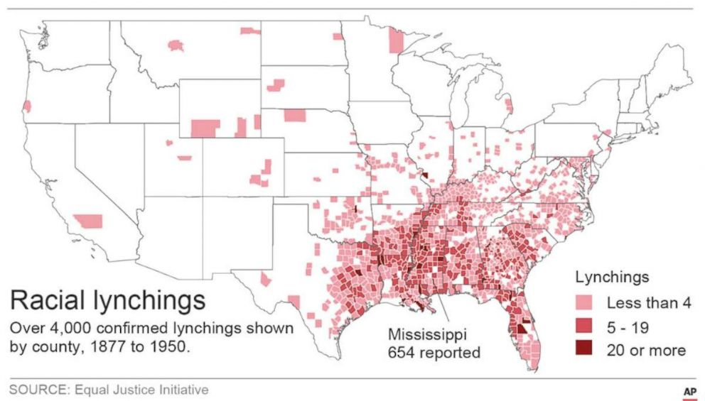 PHOTO: Graphic showing location and number of lynchings on a U.S. map.