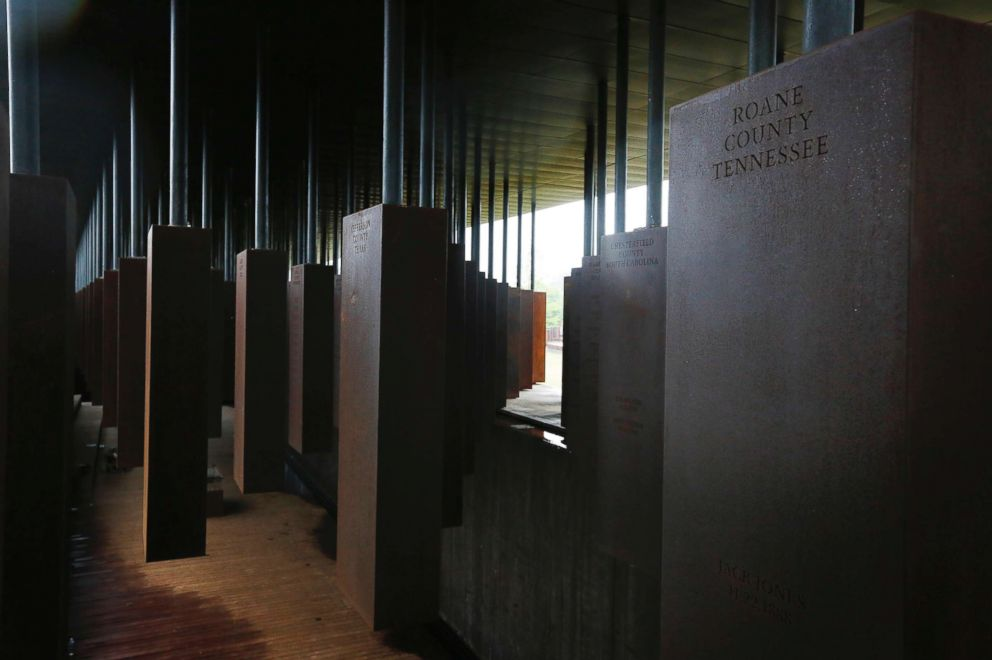 A display at the National Memorial for Peace and Justice, a new memorial to honor thousands of people killed in racist lynchings, Sunday, April 22, 2018, in Montgomery, Ala.