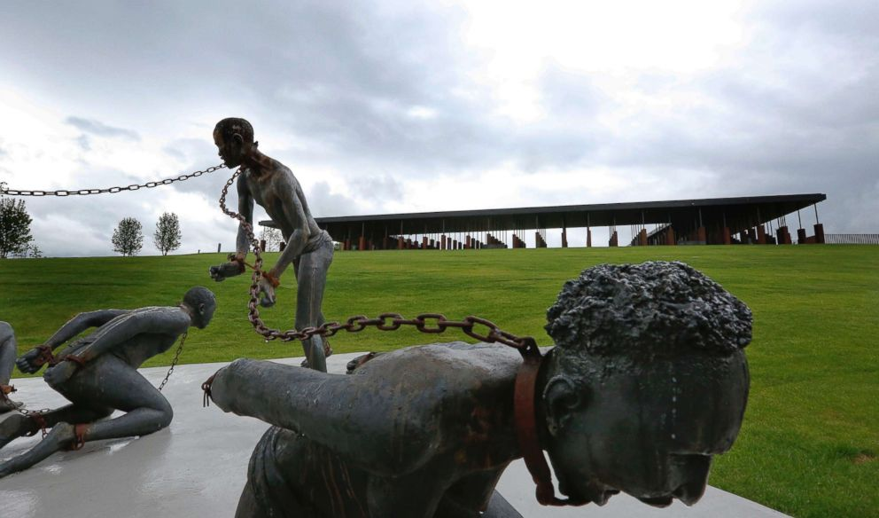 PHOTO: A statue depicting chained people on display at the National Memorial for Peace and Justice, a new memorial to honor thousands of people killed in racist lynchings, April 22, 2018, in Montgomery, Ala.