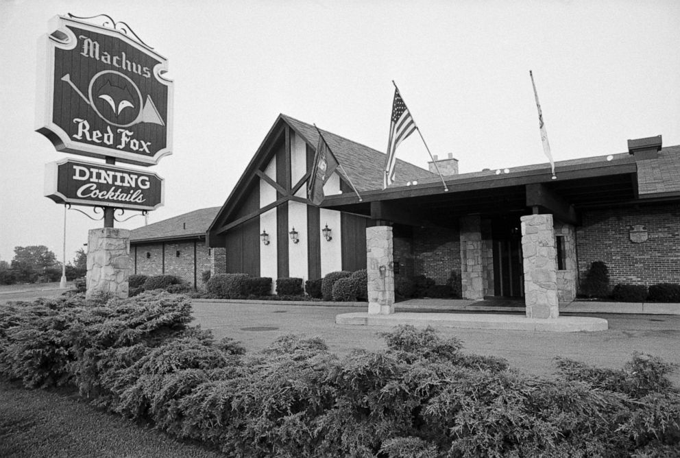 PHOTO: Machus Red Fox restaurant in Bloomfield Township, Mich., is pictured circa August 1975. Jimmy Hoffa was last seen standing outside the restaurant on July 30, 1975.