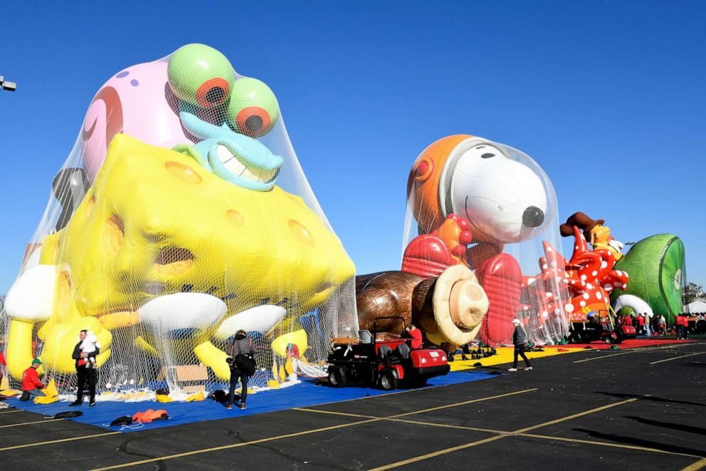 PHOTO: Balloons are inflated as Macys unveils new giant character balloons for the 93rd annual Macys Thanksgiving Day Parade at MetLife Stadium, Nov. 2, 2019, in East Rutherford, N.J.