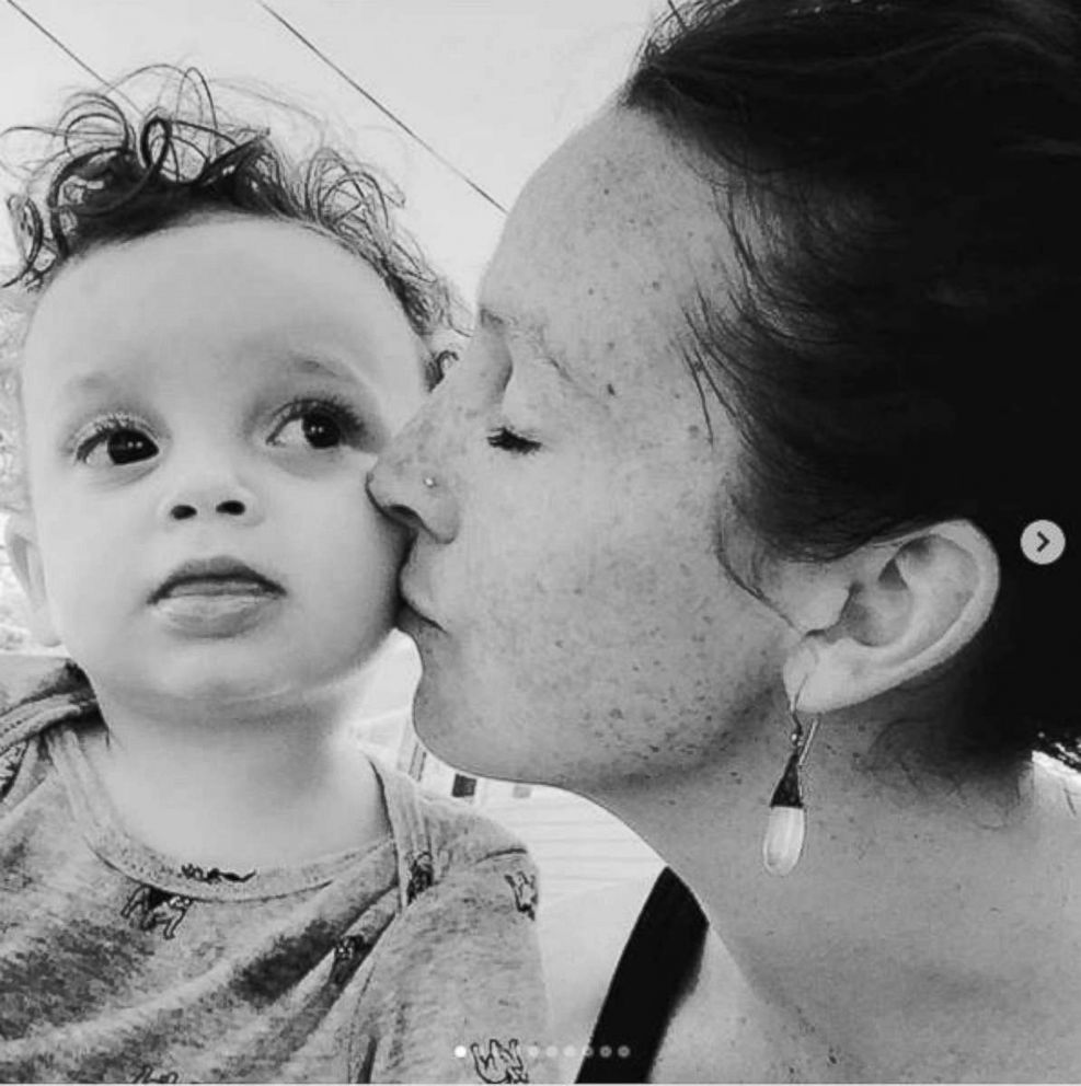 PHOTO: Madelyn Ellen Linsenmeir, suffering from drug addiction, shown with her son Ayden, who was born in 2014.
