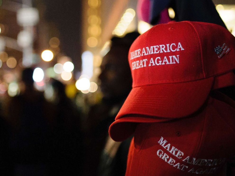 PHOTO: Make America Great Again (MAGA) hats are pictured.