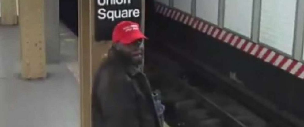 "The NYPD is looking for a man in a ""Make America Great Again"" hat who punched a fellow subway rider in the head on Friday, April 20, 2018."