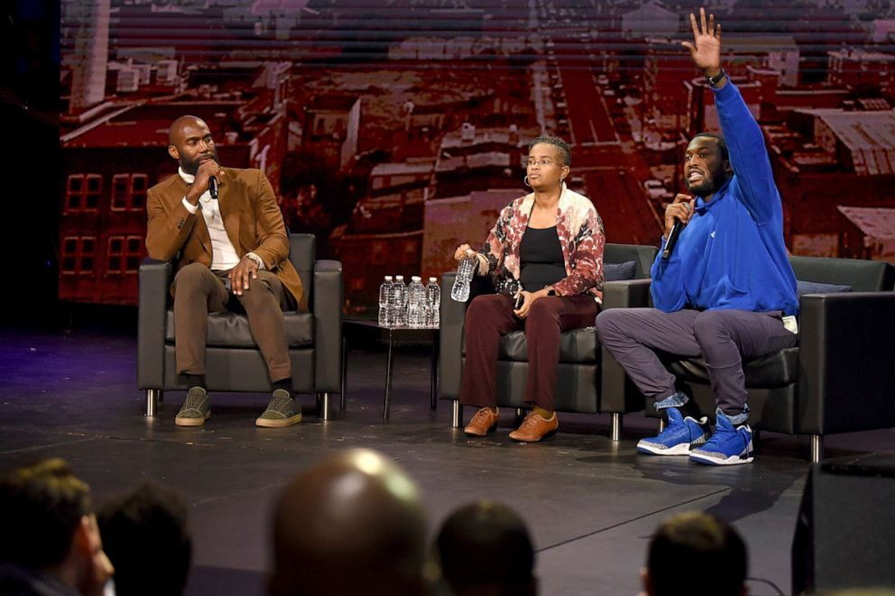 PHOTO: The NFL Players Coalition, a nonprofit co-founded by Philadelphia Eagles Malcolm Jenkins, left, hosts a public forum with rapper Meek Mill, right, and Rev. Leslie D. Callahan, center, at Community College of Philadelphia, Oct. 28, 2019.