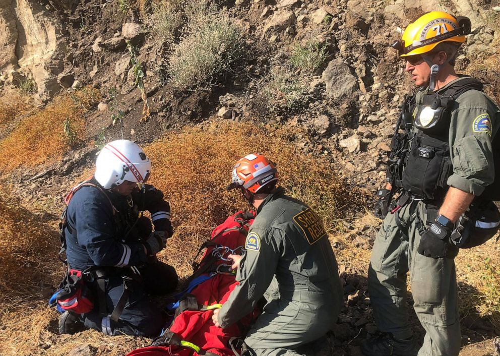 PHOTO: Rescue teams worked together to save hikers in Malibu, Calif., Sept 2, 2019.
