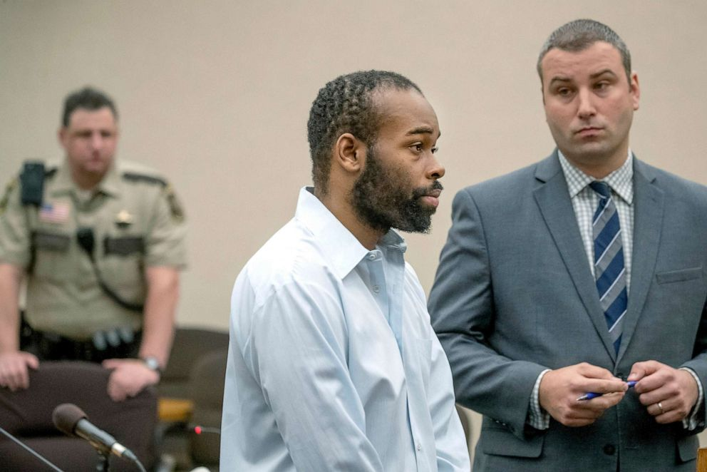 PHOTO: Emmanuel Aranda, who threw a 5-year-old boy over a Mall of America balcony, and his lawyer Paul Sellers, right, listen as the judge hands out a 19-year sentence at the Hennepin County Government Center, June 3, 2019. in Minneapolis, Minn.