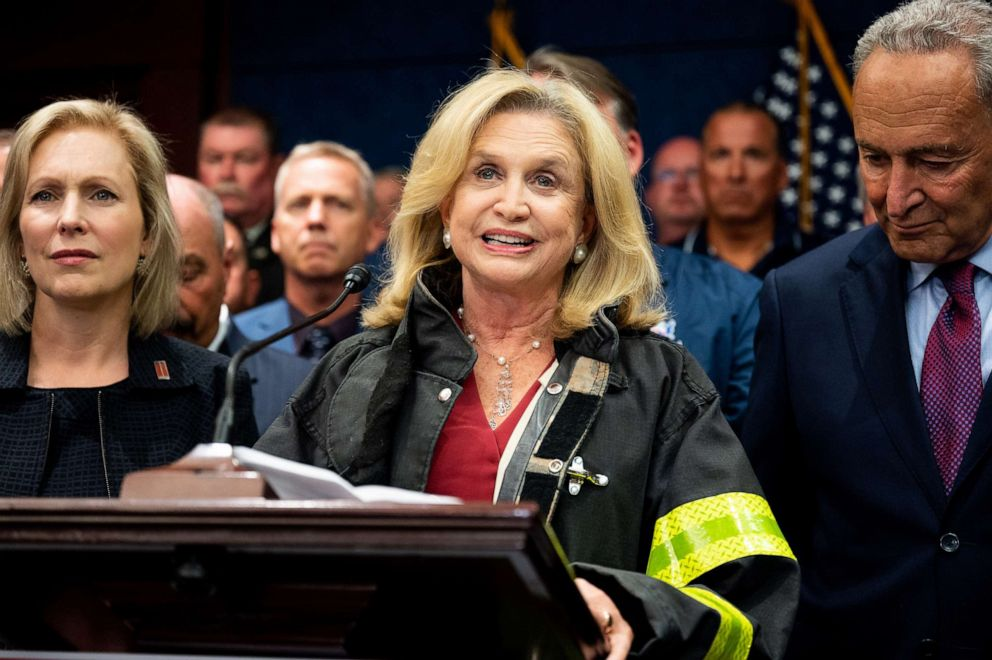 PHOTO: Representative Carolyn Maloney (D-NY) speaking at the press conference held after the passage of H.R.1327 at the Capitol, July 23, 2019.