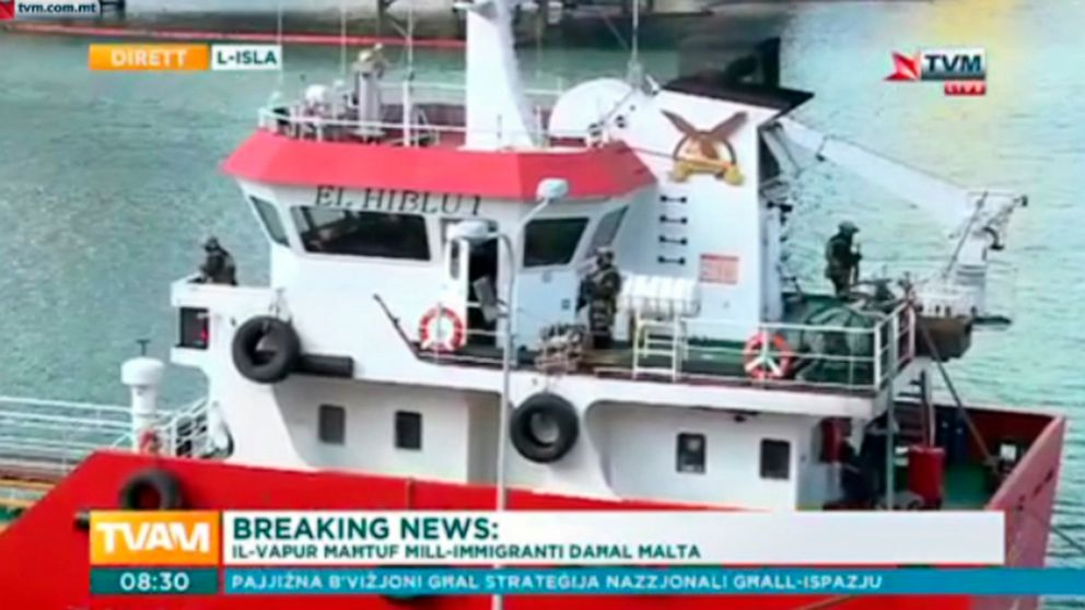 PHOTO: This image taken from TVM video on Thursday March 28, 2019 shows armed forces onboard the Turkish oil tanker El Hiblu 1 in Valletta, Malta, which was hijacked by migrants.