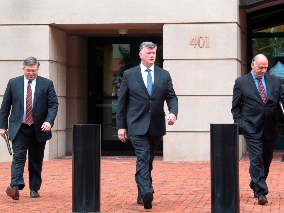 PHOTO: The defense attorneys for former Trump campaign manager Paul Manafort, including lead attorney Kevin Downing (C), Richard Westling (L) and Thomas Zehnle (R), depart the US Courthouse in Alexandria, Va., Aug. 21, 2018.