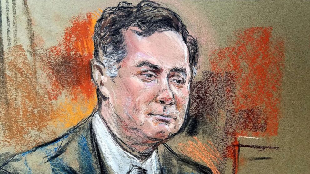 PHOTO: Former Trump campaign manager Paul Manafort is shown in a court room sketch, during a testimony of a longtime business associate Rick Gates (not shown), in Alexandria, Va., Aug. 6, 2018.