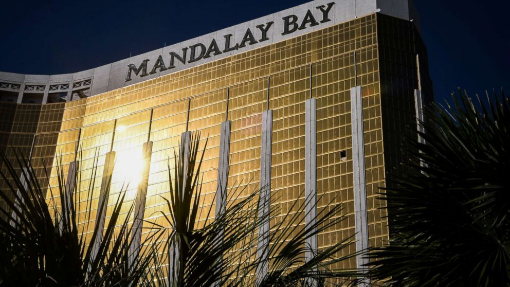 The broken window on the 32nd floor of the Mandalay Bay Hotel and Casino where Stephen Paddock, the gunman who killed 59 people and wounded more than 500 is seen on Oct. 4, 2017, in Las Vegas.
