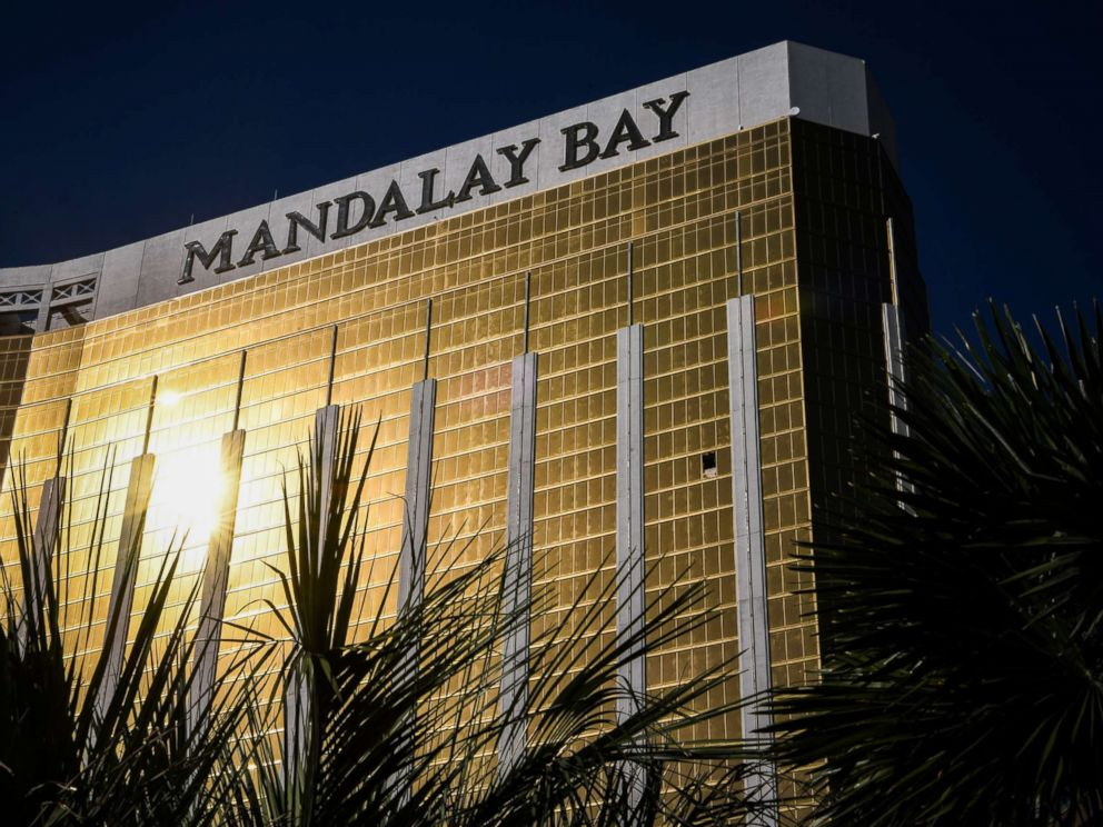 PHOTO: The broken window on the 32nd floor of the Mandalay Bay Hotel and Casino where Stephen Paddock, the gunman who killed 59 people and wounded more than 500 is seen on Oct. 4, 2017, in Las Vegas.
