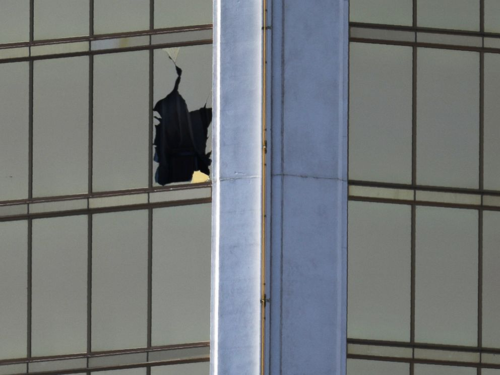 PHOTO: A broken window is seen at The Mandalay Bay Resort and Casino following a mass shooting at the Route 91 Festival in Las Vegas, Oct. 2, 2017.
