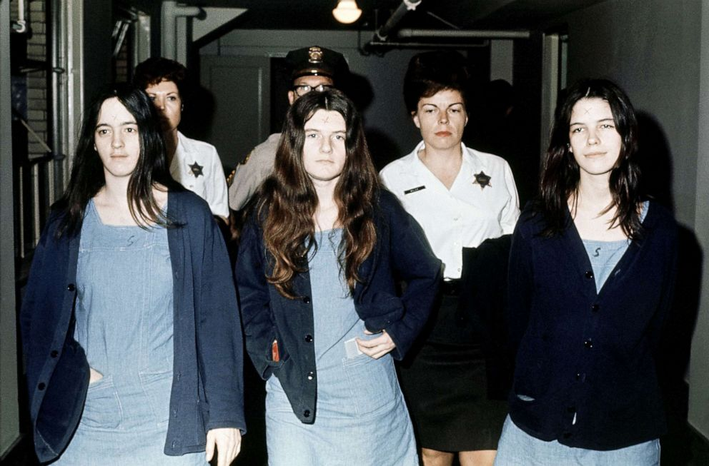 PHOTO: Three female defendants in the Manson court case,, from left; Susan Atkins, Patricia Krenwinkel, Leslie Van Houten, March 29, 1971, return to court to hear the penalty ending a nine-month trial in the Tate-LaBianca murders of Aug. 1969.