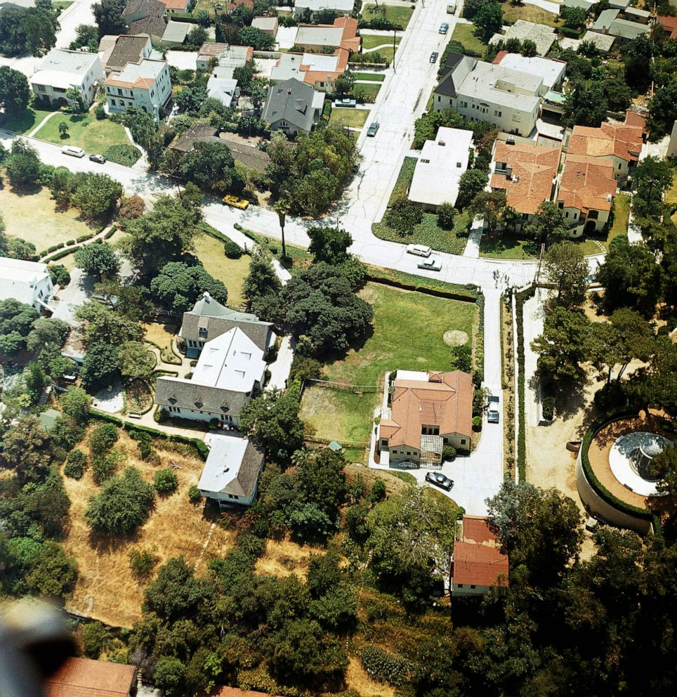 PHOTO: In this Aug. 13, 1969, file photo an aerial view of the home of Leno and Rosemary LaBianca in the Los Feliz district of Los Angeles.