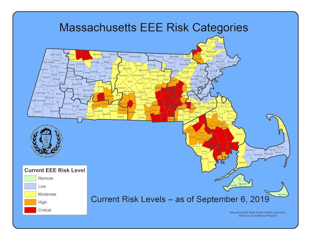 PHOTO: The Executive Office of Health and Human Services in Massachusetts released this map showing risk levels of the eastern equine encephalitis (EEE) virus.