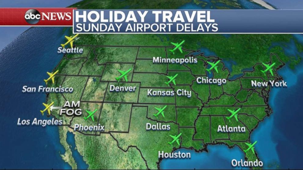 po map showing sunday airport delays for holiday travel