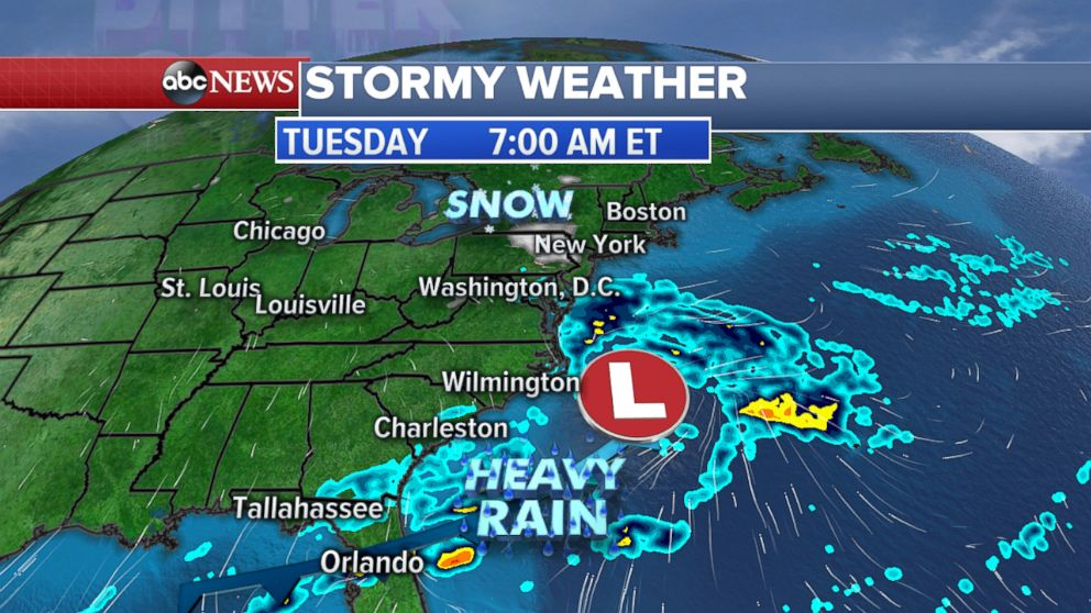 PHOTO: Snow is possible in the north, while heavy rain is possible in the south.
