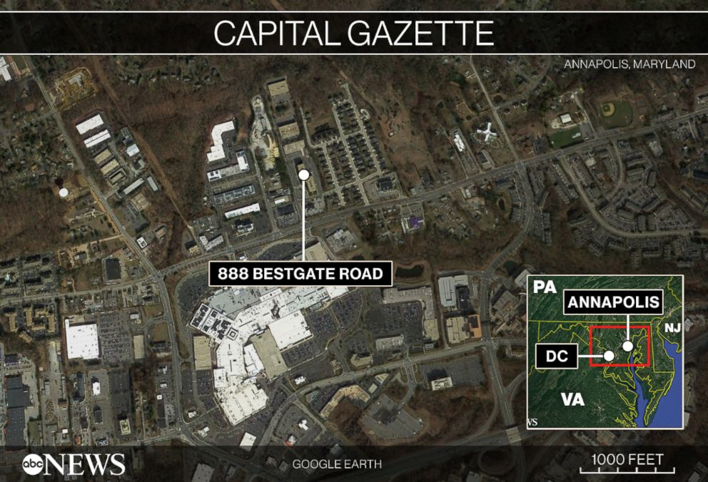 PHOTO: Map locating Annapolis, Maryland and the building where a shooting occurred on June 28, 2018.