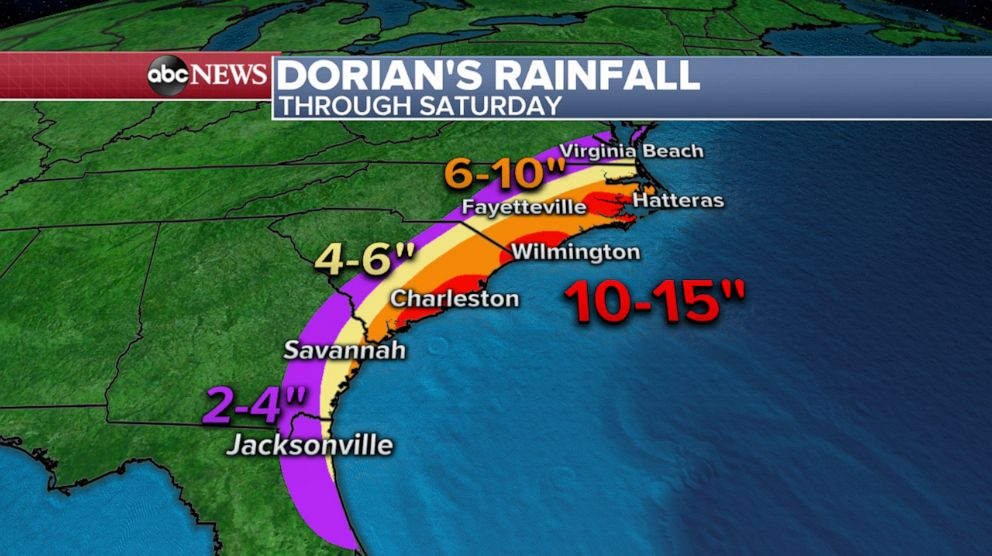PHOTO: Weather map shows the latest rainfall forecast for Hurricane Dorian.