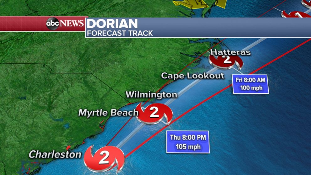 PHOTO: Map shows the latest forecasted track for Hurricane Dorian along the east coast.